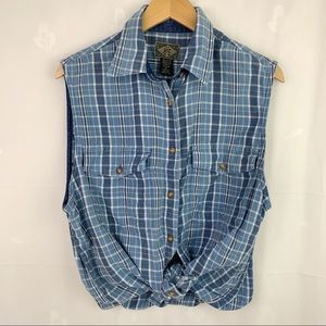 Vintage 90's Blue Plaid Cotton Sleeveless Shirt